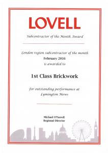 Lovell Homes Regional Outstanding Performance Award 2016